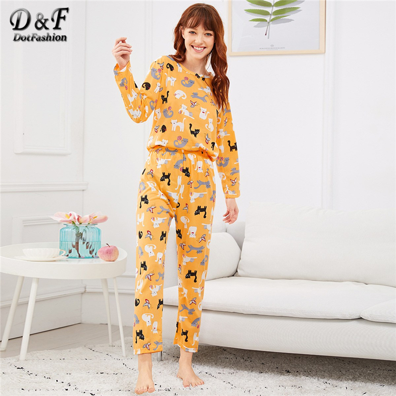 Dotfashion Yellow Cartoon Cat And Butterfly Print   Pajama     Sets   Autumn Casual   Pajamas   For Women Nightwear Long Sleeve Loungewear