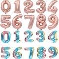 16, 32 дюйма номер воздушный шар из фольги для воздушных шаров из розового золотого, Серебряного и синего цветов цифр Globos одежда для свадьбы, д...