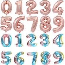 16 32 Polegada número balões folha ballon rosa ouro prata azul dígitos globos festa de aniversário do casamento decoração do chuveiro do bebê suprimentos