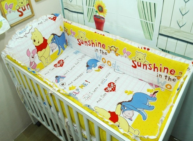 Promotion! 6PCS Bear Boys Baby Cot Crib Bedding Sets Baby Nursery Bed Kits set Crib Bumpers Sheet (bumper+sheet+pillow cover) promotion 6pcs baby bedding set girls cot set bumpers baby nursery crib set bed kit bumpers sheet pillow cover