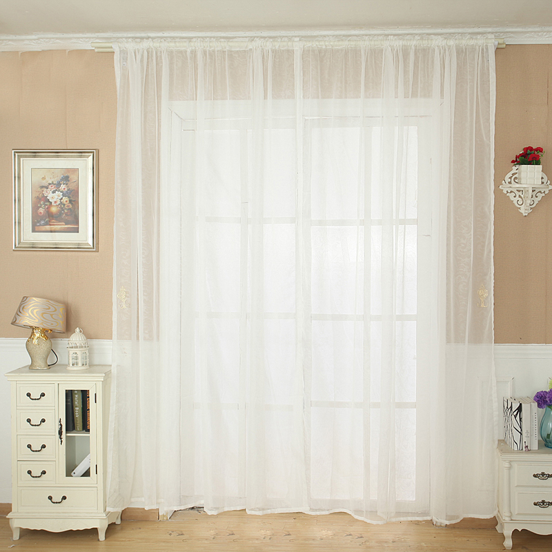 Ishowtienda Solid Color Tulle Door Window Curtain Drape Panel