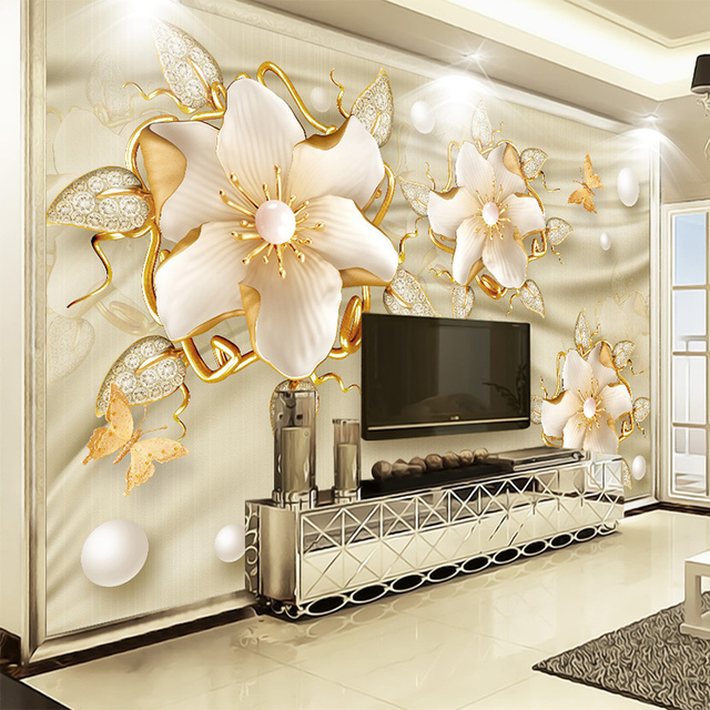 europ ischen stil luxus tapete 3d goldene schmuck blumen. Black Bedroom Furniture Sets. Home Design Ideas