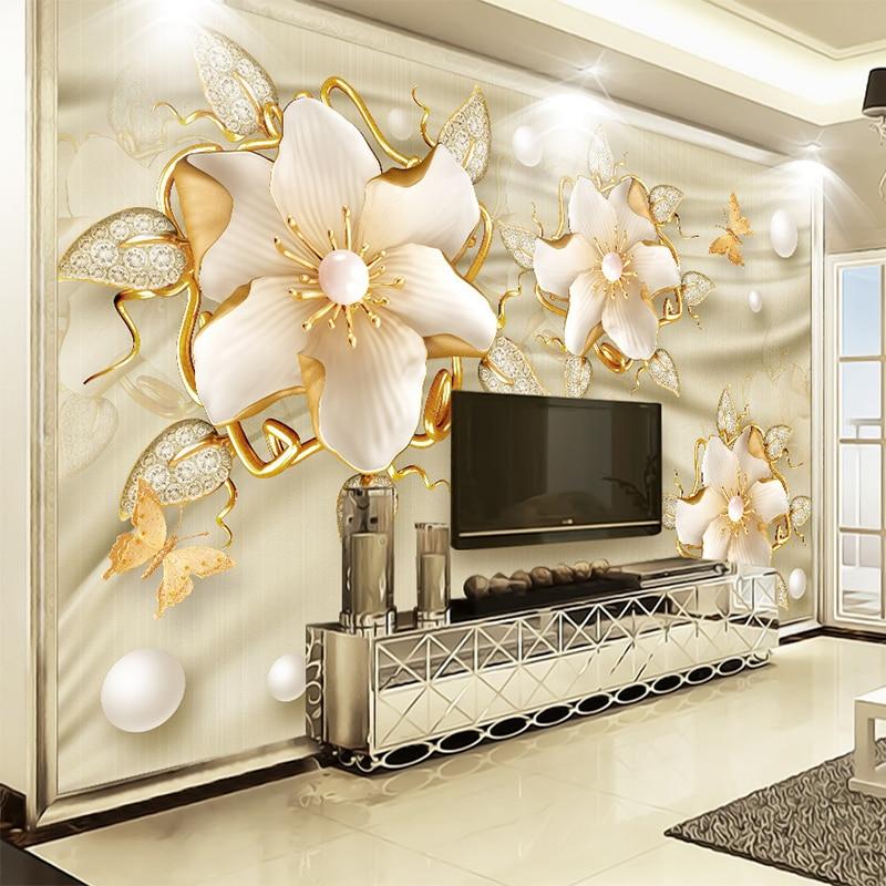 European Style Luxury Wallpaper 3D Golden Jewelry Flowers