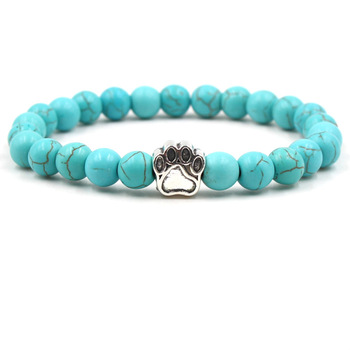 Stone Mala Bead Yoga Paw Elastic Rope Bead Bracelet