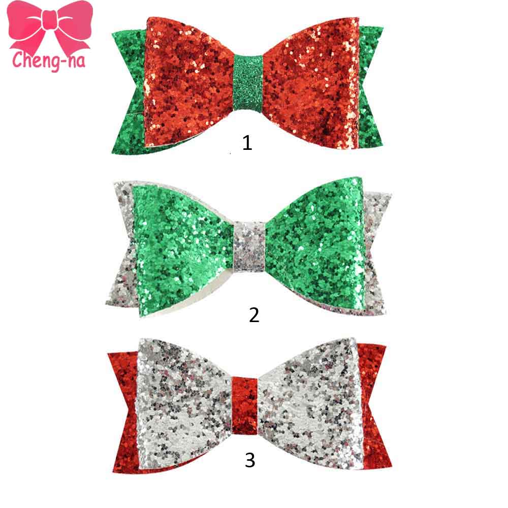 Ha hair bow ribbon wholesale - 6pcs Lot 4 Christmas Hair Bows Green Red Silver Glitter Sparkle Christmas Hair Bow