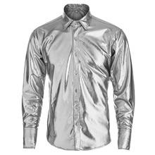 MORUANCLE Mens Coated Metallic Shinny Long Sleeve Dress Shirts Night Club  Gold Silver. US  19.61   piece Free Shipping 2c9dbcae8293