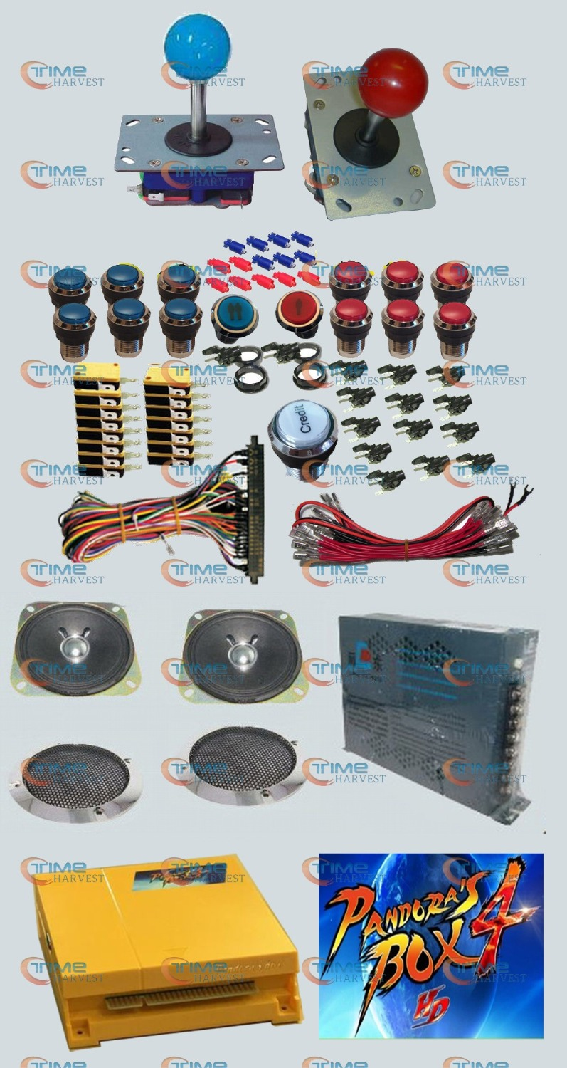 Arcade parts Bundles kit With 645 in 1 Pandora's Box 4 Long shaft Joystick Silver illuminated button Microswitch Jamma Harness arcade parts bundles kit with joystick pushbutton microswitch player button speaker 60 in 1 game pcb to build up arcade machine