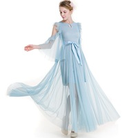 ORMELL Spring Sweet Long Dress Women Flare Sleeve Big Bow Summer Dress Evening Party Elegant Sky