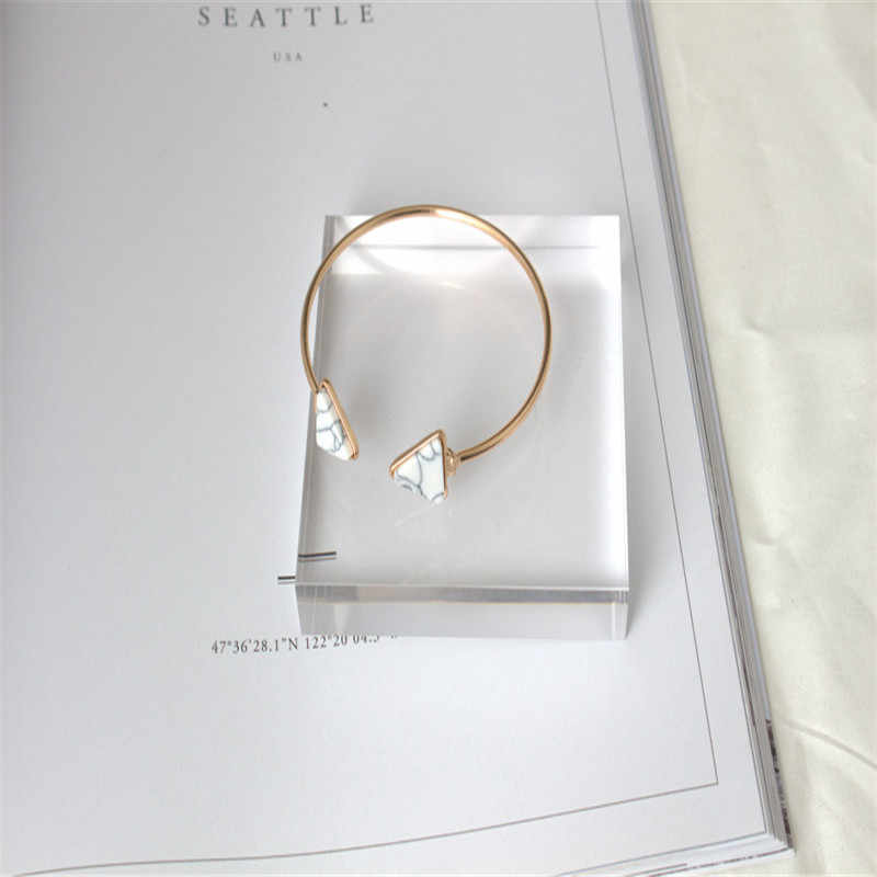 M MISM kobieta dziewczyny moda opieranie bransoletka biżuteria marmur styl trójkąt proste Pulseiras ze stali nierdzewnej Bangels pulseras mujer