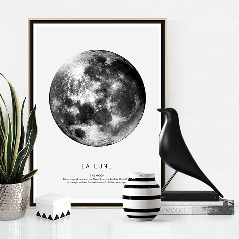 Earth Mars cuadros nordic poster canvas art wall prints abstract painting Black and white home decor 3 piece for living room