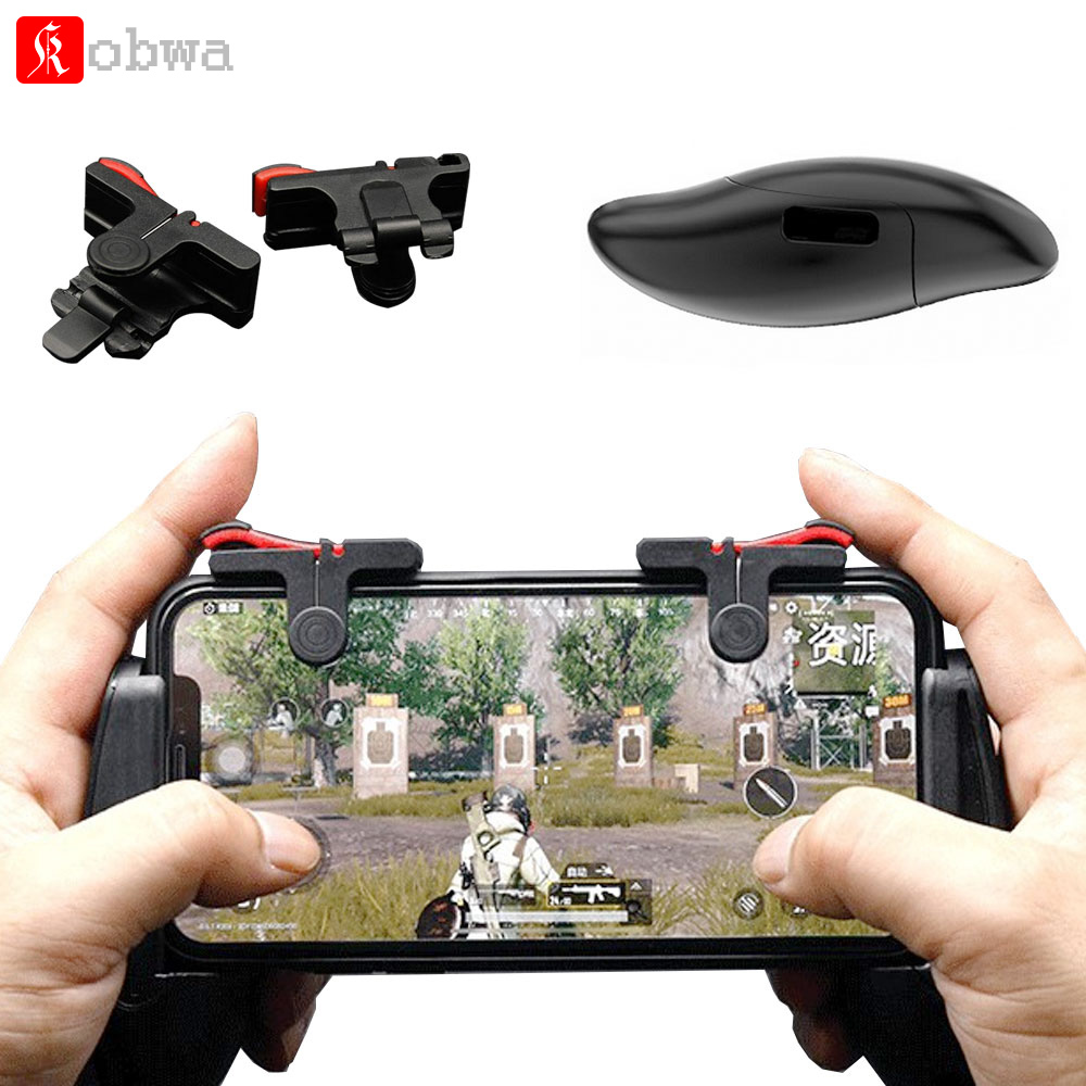 KOBWA Universal mobile game controller phone grip with joystick  fire buttons for 5.0~6.0 inch mobile phone Android IOS gamepad