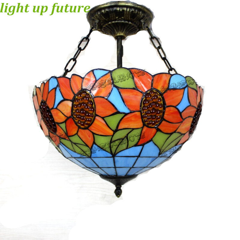 Aliexpress Com Buy Dining Room Retro Pendant Lamps: Aliexpress.com : Buy Vintage Sunflower Tiffany Pendant