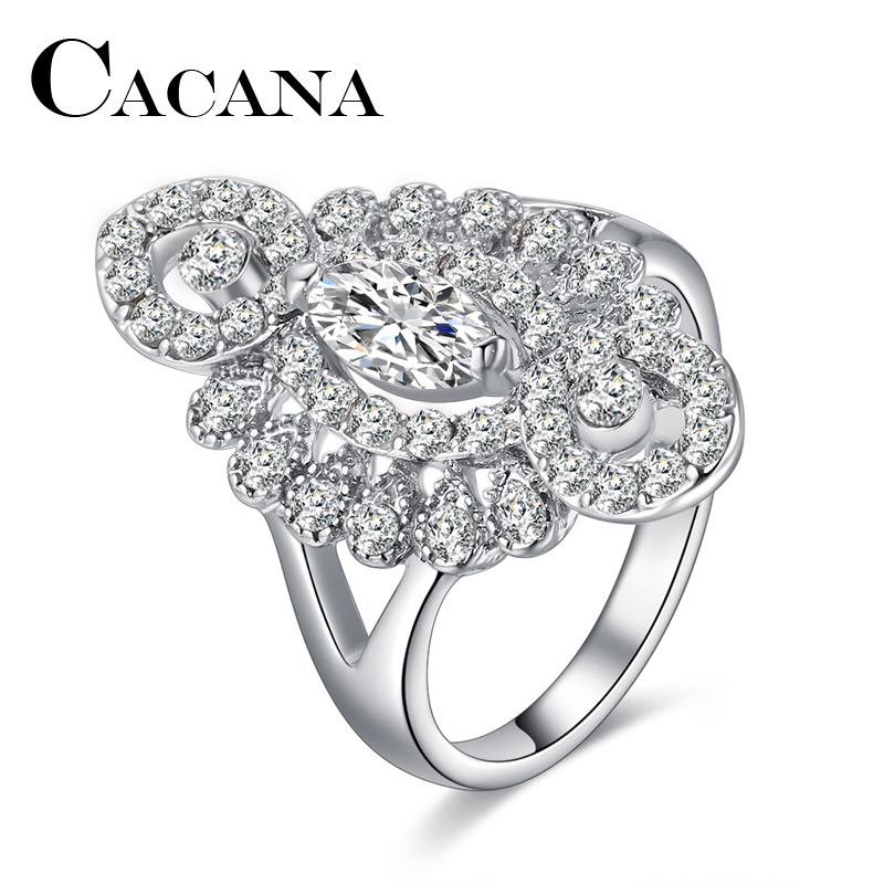 CACANA New Crystal Rings For Women White