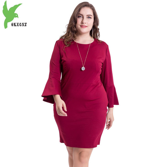2018 Plus size women\'s spring summer dress new Speaker sleeve Solid ...
