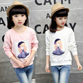 New toddler sweater children's clothes  Girl cartoon tidal bottoming shirt pink kids clothes 4-10-12 age teenage girl t-shirt