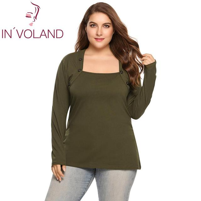 IN OLAND Women T-Shirt Top Plus Size Autumn Casual Solid Tshirt Square Neck  Long Sleeve Button Loose Ladies tees Oversized 5XL 1f5d5b96b1c1