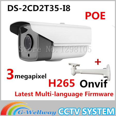 2015 New arrival DS-2CD2T35-I8 3MP EXIR Bullet Camera POE 1080P cameras POE CCTV IP network cameras H265 original new arrival ds 2cd2t35 i5 3mp exir bullet poe 1080p cameras poe cctv ip network cameras ir h265 ipc