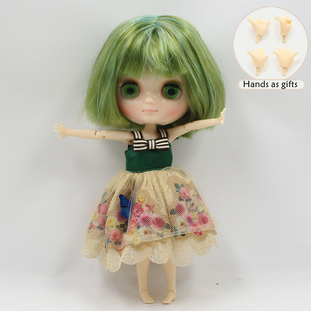 Free shipping green hair Nude Middie blyth Doll nude joint doll 1/8 doll special offer free shipping top discount joint diy nude blyth doll item no 208j doll limited gift special price cheap offer toy usa for girl