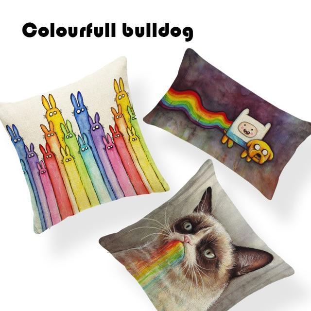 Customized Unicorn Rainbow Rain Dog Cushion Cover Mid Century Car Seat Covers Family Small Polyester Autumn