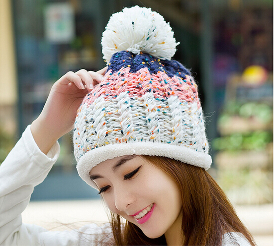 f11e1d3ca7f New winter wool cap cute woman tide plus velvet thick warm bone beanie knit  hat ear hat hats for women gorro beanies winter hat-in Skullies   Beanies  from ...