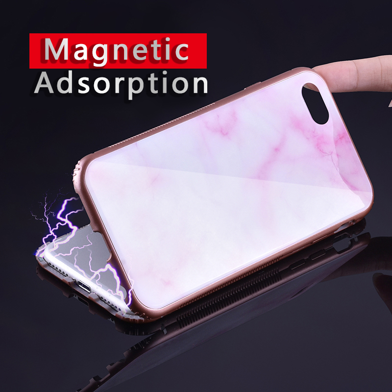 ProElite Magneto Magnetic Adsorption Hard PC Bumper Glass Case for iPhone X 8 7 6S Plus Vintage Marble Pattern Full Body Cover