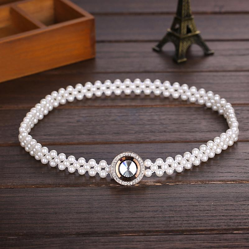 20pcs/lot Noble Crystal Buckles Pearls Waist Belts Three Lines Beading Slender Waistbands Girls Dress Decoration os869