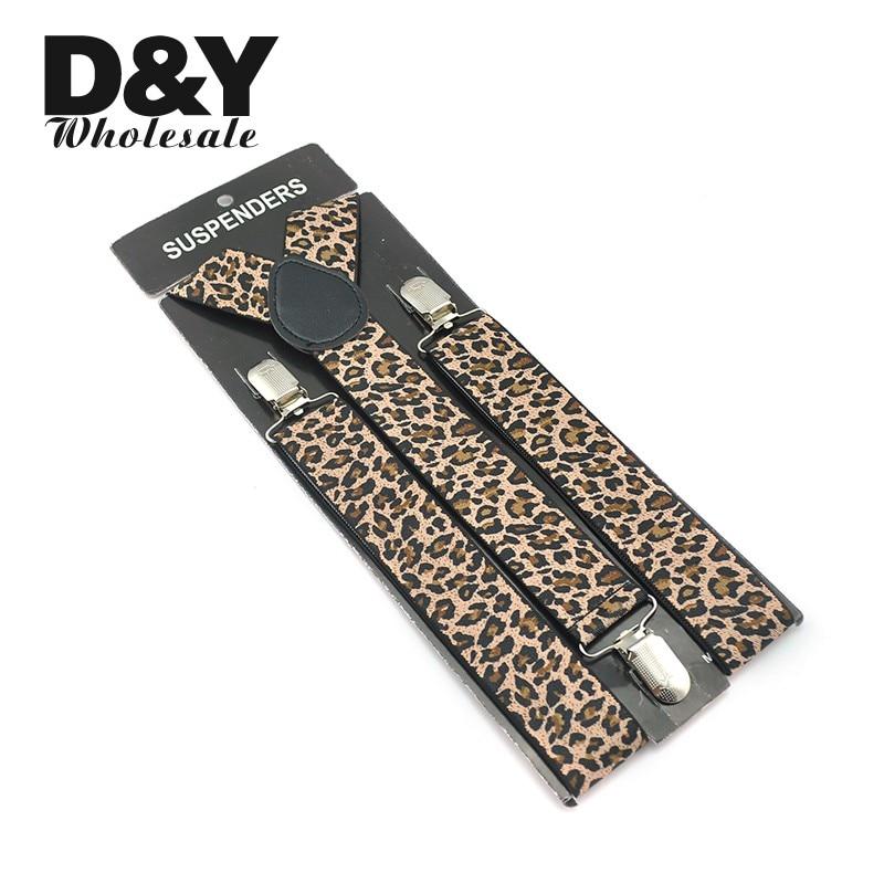Leopard Black Mens Unisex Clip-on Braces Elastic 3.5cm Wide Suspenders Y-back Suspender Quality Braces Gallus Wholesale