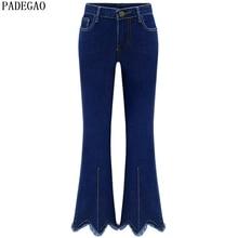PADEGAO 2017 dark blue women jeans high waist ankle length pants vintage tassel flare pants plus size fashion denim skinny jeans