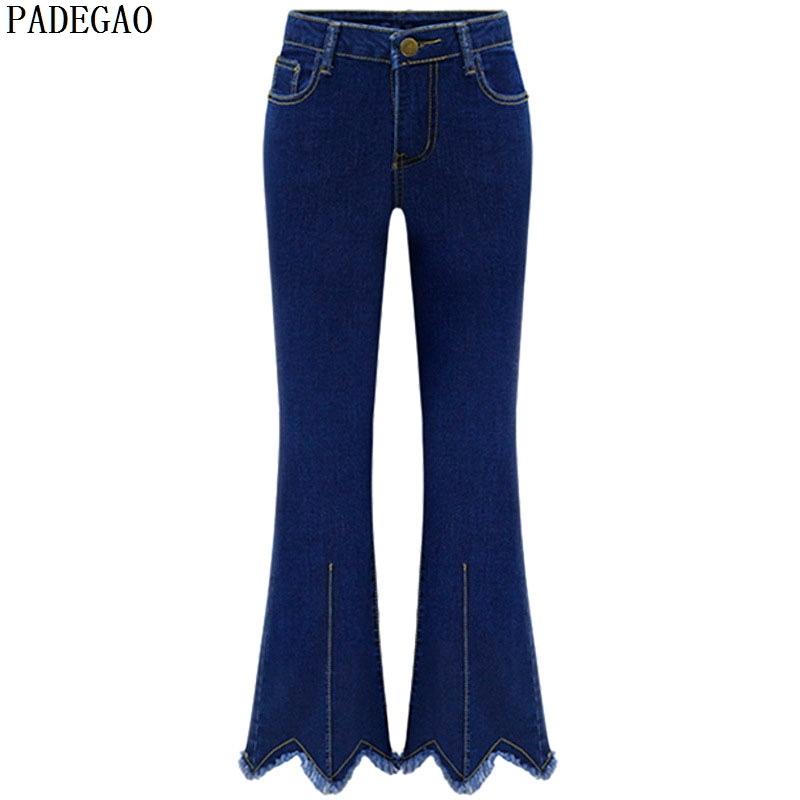 PADEGAO 2017 dark blue women jeans high waist ankle length pants vintage tassel flare pants plus size fashion denim skinny jeans plus size side stripe wide leg blue capris jeans 4xl 7xl oversized tassel irregular fringe ankle length denim pants