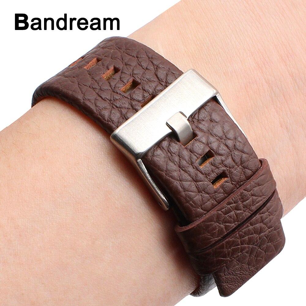 Véritable Cuir de Vachette Bracelet 20/24/26/27/28mm pour Diesel DZ7313 DZ7322 DZ7257 Montre bande Argent Boucle Bracelet Noir Brun