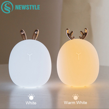 Deer Rabbit LED Night Light Silicone Animal Cartoon Dimmable Lamp USB Rechargeable For Children Kids Baby Gift Bedside Bedroom