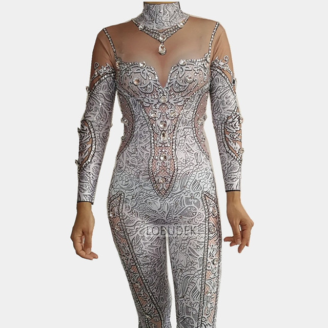 3D Printed Glass Crystals Jumpsuit Rhinestones Stretch Leotard Bodysuit Female Singer Nightclub Clothing Party Stage Costume