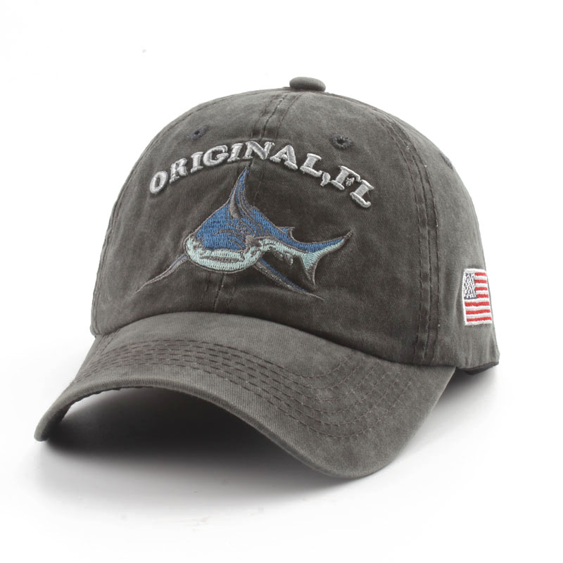 washed cotton mens baseball cap vintage snapback shark hat for women casual casquette embroidery letter retro trucker cap