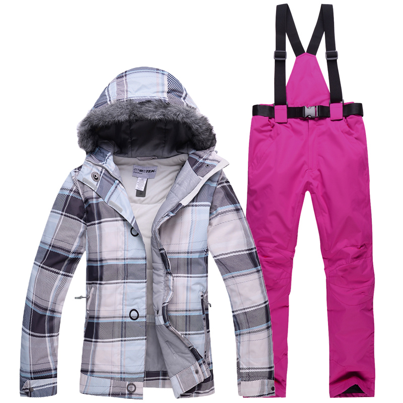 Новинка 2020, зимний лыжный костюм, женский ветрозащитный водонепроницаемый теплый лыжный костюм с подкладкой, лыжная куртка для катания на с...