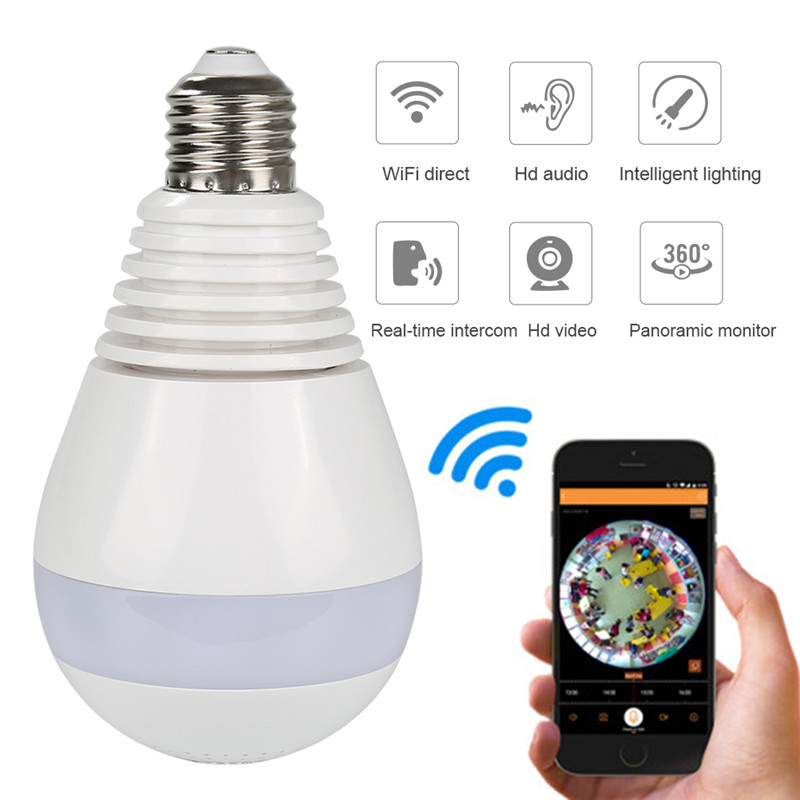 1.3MP 2.0MP wifi Panoramic 360 degree camera Wireless Light bulb Fisheye Camera cctv Sma ...