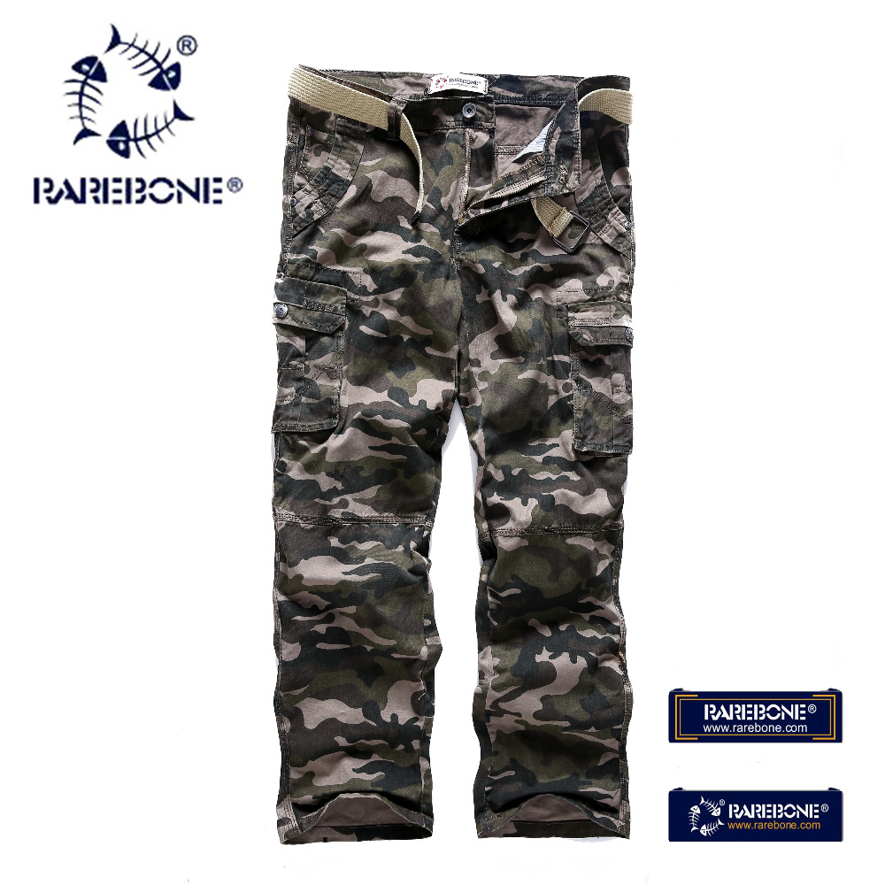 Rarebone 2018 New Arrival Men Multi-pocket Military Army Camouflage Cargo Pant Fashion Pants Casual Style Trousers  Tactical 805