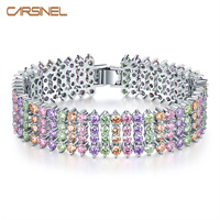 FYM Fashion Charm Colorful Rhinestone Wide Cubic Zirconia Bracelets For Woman Lady Party Gift