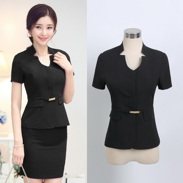 Formal Black Blazer Women Skirt Suits Jacket Sets Summer Slim ...
