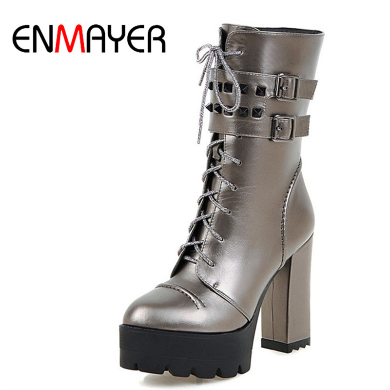 ФОТО ENMAYER Mid-calf Boots for Women High Heels Round Toe Lace-up Riding Boots Rivets Charms Shoes Woman Platform Shoes Winter Boots