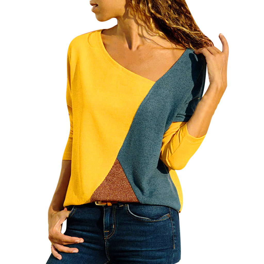 t shirt women V-Neck Splicing Color Collision Plus Size Easy Tops cami