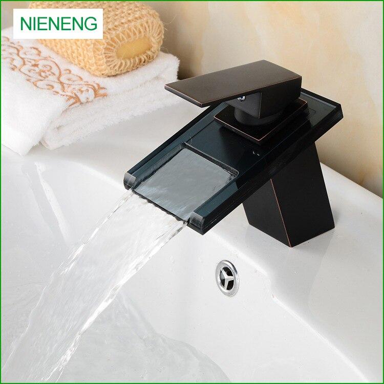 nieneng fregadero de cobre negro cristal de la cascada de bao grifo lavabo grifo de bronce