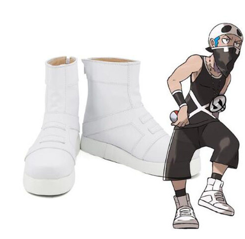 4392e0955dd7 Pocket Monster Pokemon Team Skull Member White Cosplay Boots Shoes Costume  Accessories Halloween Party Boots for Adult Men Shoes