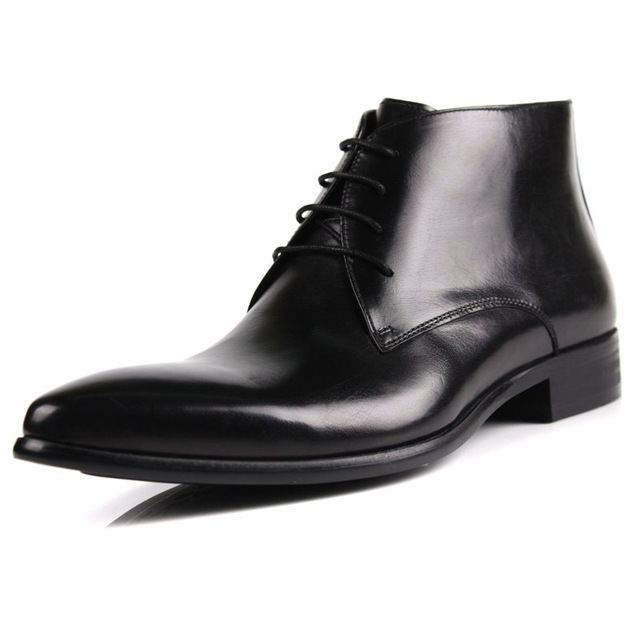 82ba44f286aeb2 New Real Leather Men's Ankle Boots Formal shoes Black or Brown Lace up size  5.5~11 us C010-7