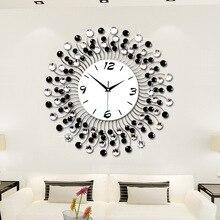Large Fashion Creative 3D Electronic Wall Clock Iron Art Diamante 50 50CM JJT M1047 50