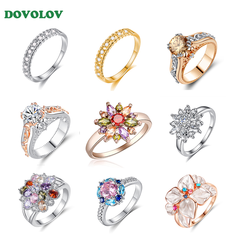 Dovolov Fashion Crystal Shiny Zircon Wedding Flower Rings For Women luxury Finger Cocktail Party Statement Rings Jewelry D3