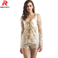 Sexy Women Mesh Embroidery Two Pieces Summer Playsuit Short Sequins Romper Beach Nightclub Party Jumpsuit Elegant Overalls 2018
