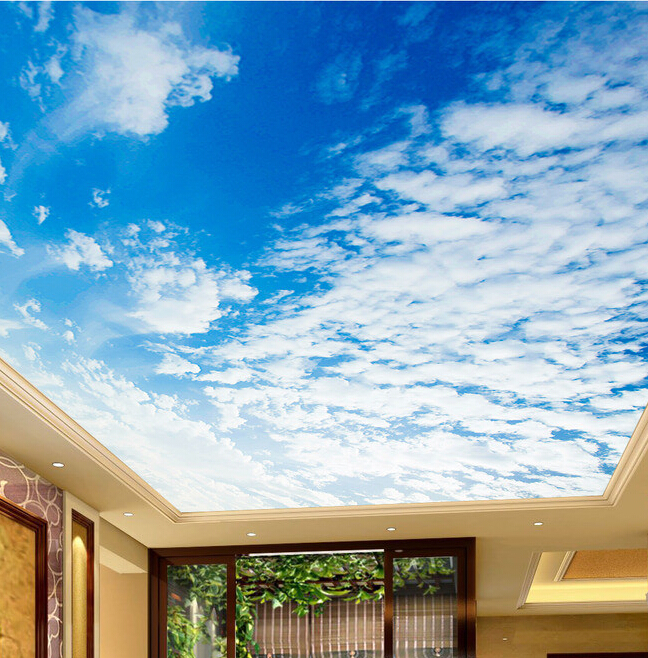 Custom Ceiling Wallpaper Blue Sky And White Clouds Landscape Murals For The Living Room Bedroom Wall Papel De Parede In Wallpapers From Home