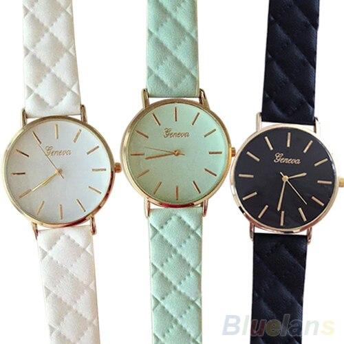 Men's Women's Fashion Geneva Checkers Faux Leather Quartz Analog Wrist Watch  23I9