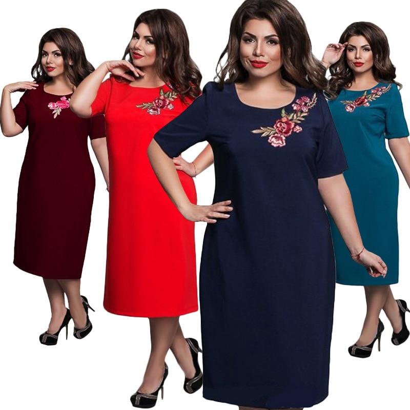 Plus Size Women Dress 2017 New Summer Elegant Ladies Embroidery Dresses Fat  MM L 6XL Loose Jurken Big Size Robe Femme Vestidos-in Dresses from Women s  ... 753776f08efd