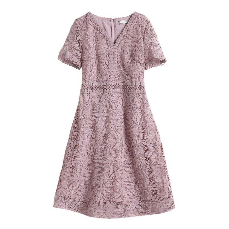 dress Dresses Women 39 s Clothing Large size women 39 s summer new V neck short sleeved lace dress in Dresses from Women 39 s Clothing